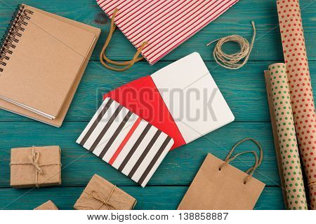 Set With Handmade Striped Shopping Bag, Gift Bags, Packing Paper