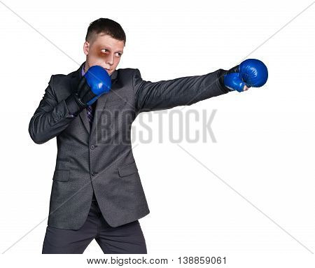 Beaten businessman with boxing gloves isolated on white