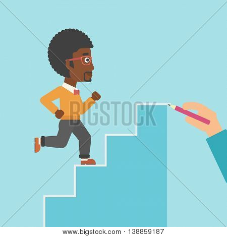 An african-american businessman running up the stairs drawn by hand with pencile. Concept of business career. Vector flat design illustration. Square layout.