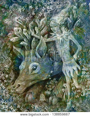 little elf with crystal reindeer, colorful illustration.