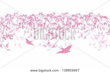 spring blooming tree horizontally seamless border - pink sakura flowers and swallow birds vector design