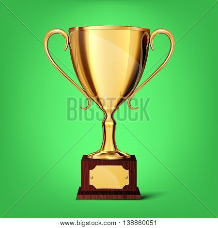 gold cup isolated on a green background. vector illustration.