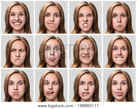 Multiple close-up portraits of the same woman expressing different emotions over gray background