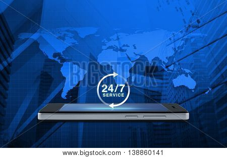 24 hours service icon on modern smart phone screen over map and city tower background Full time service concept Elements of this image furnished by NASA