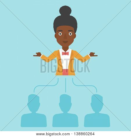 Three employees linked with an african-american business woman. Young business woman choosing employee. Concept of searching for stuff. Vector flat design illustration. Square layout.
