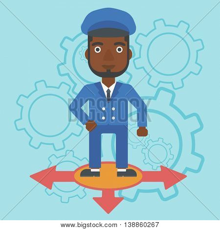 An african-american man standing on three alternative ways on a blue background with cogwheels. Concept of career choices. Vector flat design illustration. Square layout.