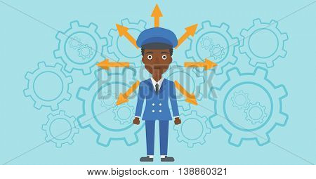 An african-american young woman with many arrows around her head standing on a blue background with cogwheels. Concept of career choices. Vector flat design illustration. Horizontal layout.
