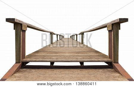Old brown bridge made from wood and iron which isolated on white background