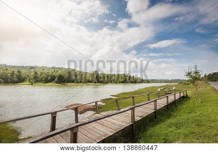 Wooden bridge across flood area of big lake which connect to green grass land which having forest with sunny blue sky as background in Thailand.