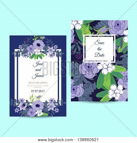Cute wedding invitation to celebration on card with flower decoration vector illustration. Wedding invintation card template. Flower leaf bunch. Wedding invintation. Flowers card. Layout of wedding invitation card. Flowers on frame. Wedding.