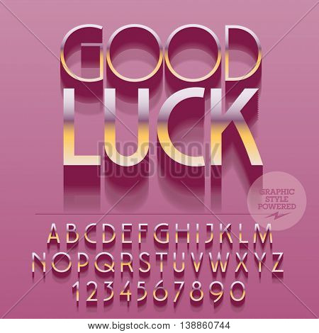 Set of glossy golden alphabet letters, numbers and punctuation symbols. Vector reflective greeting card with text Good luck. File contains graphic styles