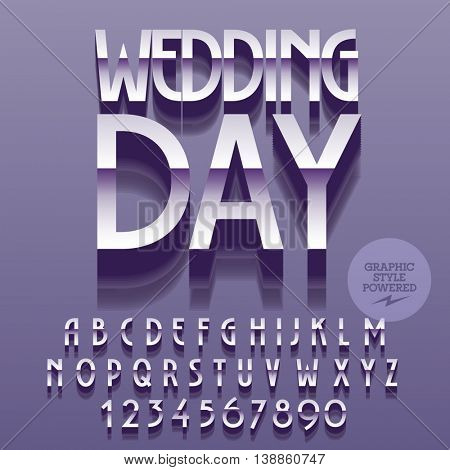 Set of glossy silver alphabet letters, numbers and punctuation symbols. Vector reflective card with text Wedding day. File contains graphic styles
