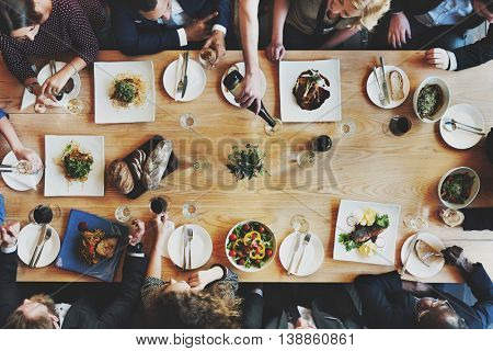 Business People Meeting Eating Discussion Concept