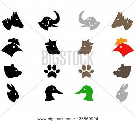 Different animals silhoutte isolated on white background