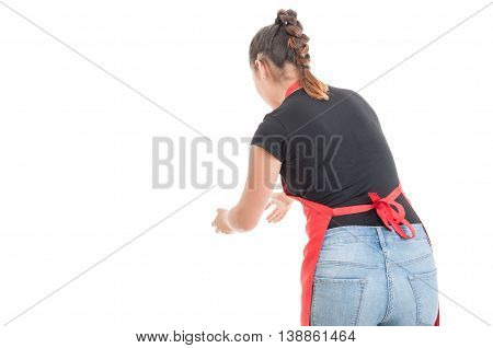 Female Employee With Apron Catching Something