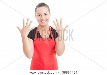 Beautiful Female Employee Showing Number Ten