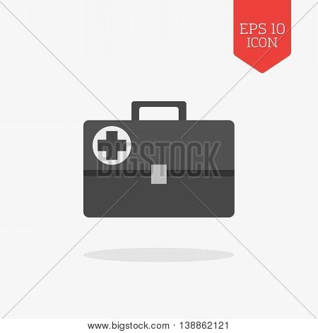 Medical Briefcase, First Aid Kit Icon. Flat Design Gray Color Symbol. Modern Ui Web Navigation, Sign