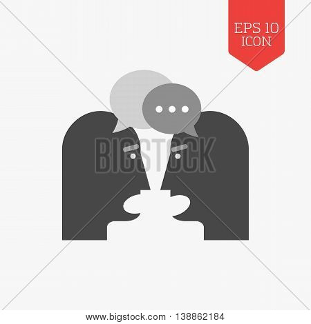 Two Person Chatting Icon. Dispute Concept. Flat Design Gray Color Symbol. Modern Ui Web Navigation,