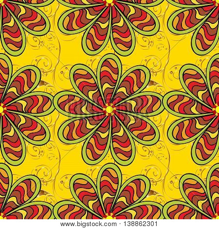 Seamless red stripes doodles flower on yellow background with golden elements. Vector illustration.