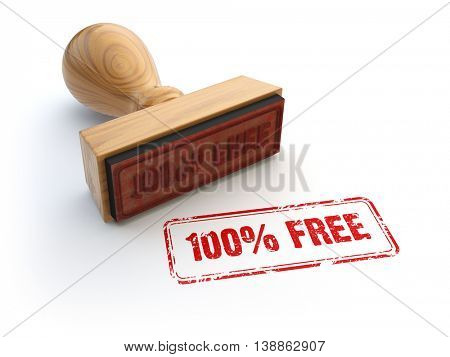 Stamp 100% free isolated on white. 3d illustration