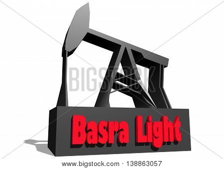 Oil pump and Basra crude oil name. Energy and power relative backdrop. 3D rendering