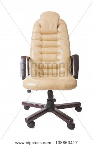 New Leather Office Boss Chair (armchair). Restoration of Furniture and Replacing update the Material