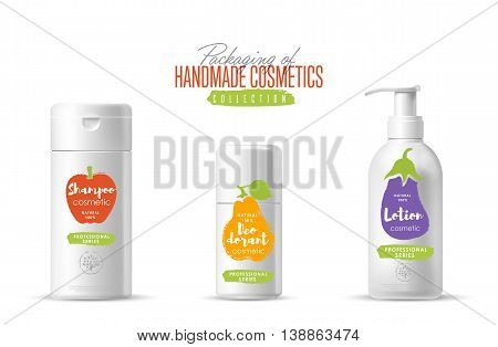Handmade cosmetic brand vector packaging template, body care product. Oil, lotion or soap, shampoo, cream. Realistic bottle mock up set isolated on white background.
