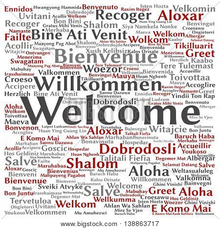 Concept or conceptual abstract square welcome or greeting international word cloud in different languages or multilingual isolated