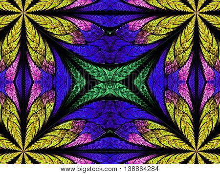 Symmetrical pattern in stained-glass window style. Green blue and yellow palette. Artwork for creative design.