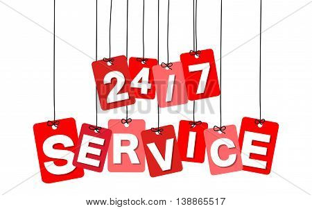 Vector colorful hanging cardboard. Tags - 24-7 service on white background