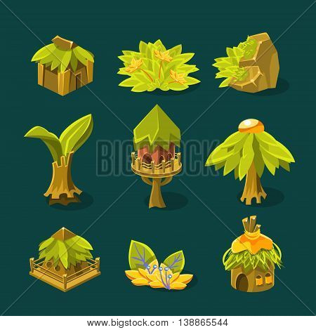 Video Game Tropical Jungle Design Collection Of Element In Cute Vector Childish Style Isolated On White Background