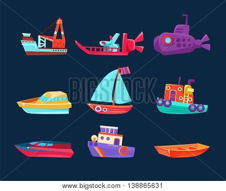 Water Transport Toy Set Of Bright Color Boats In Simple Childish Style Isolated On Dark Background