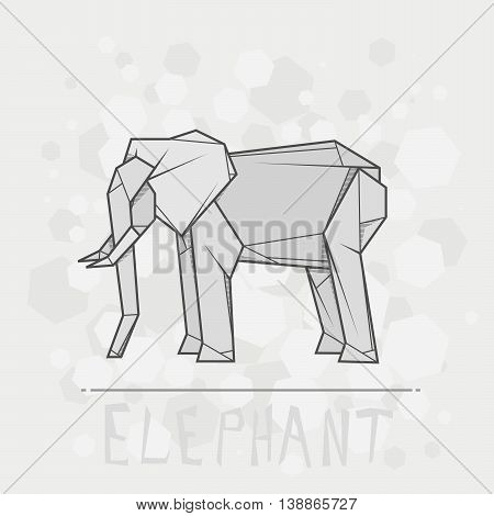 Vector simple illustration paper origami of elephant.