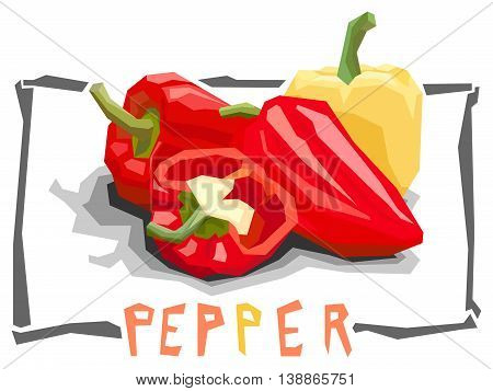 Vector simple illustration of bell peppers in angular cartoon style.