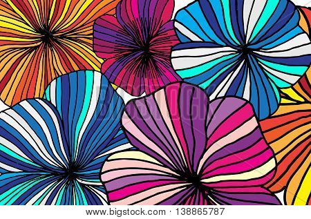 Set of Vectorized Flowers. Hand drawn vector stock illustration.