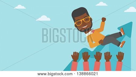 An african-american young businessman get thrown into the air by coworkers during celebration. Successful business concept. Vector flat design illustration. Horizontal layout.