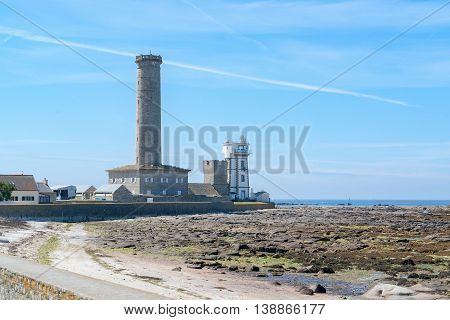lighthouse in Penmarch a commune in the Finistere department in Brittany France