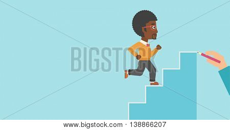 An african-american businessman running up the stairs drawn by hand with pencile. Concept of business career. Vector flat design illustration. Horizontal layout.
