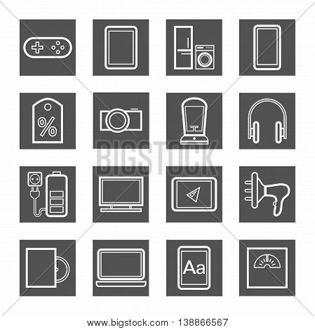 Gadgets, appliances, monochrome contour icons, gray. Vector linear icons of home appliances, gadgets, and accessories. White image on a dark gray background.