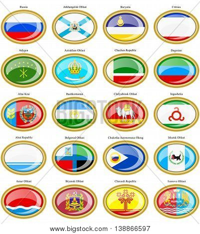 Federal Subjects Of The Russian Federation Flags.