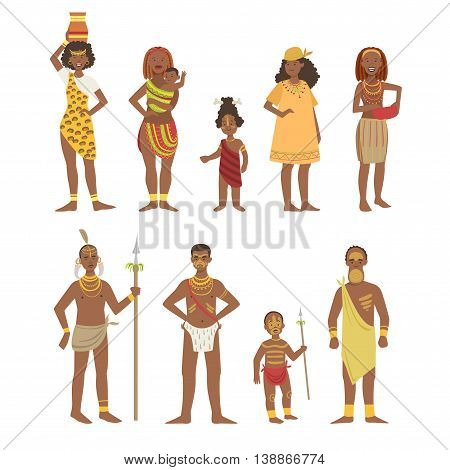 African National Tribal Outfit Bright Color Cartoon Simple Style Flat Vector Set Of Stickers Isolated On White Background
