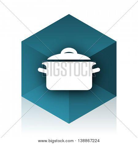cook blue cube icon, modern design web element
