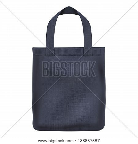 Eco textile black tote shopper bag vector illustration. Good for branding design.