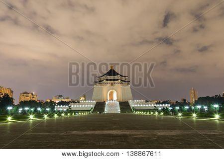 Taipei, Taiwan - January 9, 2015: Chiang Kai-Shek Memorial Hall by night
