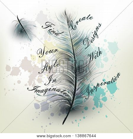 Fashion conceptual background with vector realistic blue feather find your style in imagination and create designs with inspiration