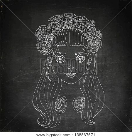 Young girl in wreath. Hand drawn vector stock illustration. Chalk board drawing.