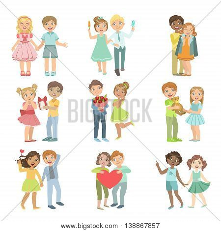 Teenager Couples In Love Bright Color Cartoon Simple Style Flat Vector Set Of Stickers Isolated On White Background