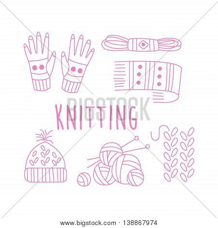 Knitting Related Object Collection With Text Hand Drawn Simple Vector Illustration Is Sketch Style