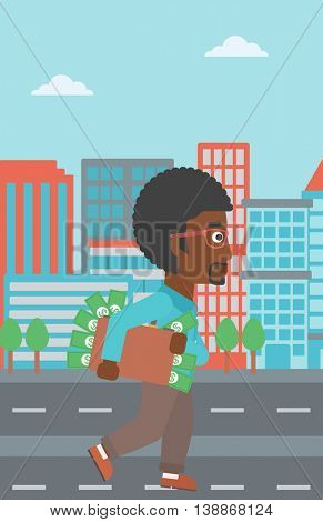 An african-american young businessman walking in the city with suitcase full of money. Vector flat design illustration. Vertical layout.