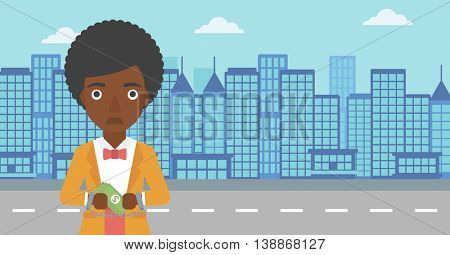 An african-american young business woman in handcuffs with money in hands on the background of modern city. Business woman handcuffed for crime. Vector flat design illustration. Horizontal layout.